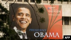 A billboard welcoming U.S. President Barack Obama at The American Center in New Delhi