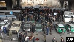 Место сегодняшнего взрыва в центре сирийской столицы