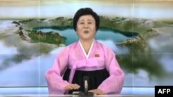 Диктор северокорейского телевидения зачитывает сообщение о ядерном испытании.