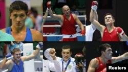 Казахстанские боксеры, выигравшие на Азиаде в Инчхоне золотые медали. Фотоколлаж.