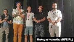 Премьера фильма «Черкассы» на Одесском кинофестивале. Второй справа: капитан тральщика Юрий Федаш