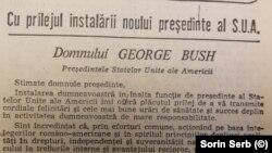 Mesajul lui Ceaușescu la învestirea lui George Bush