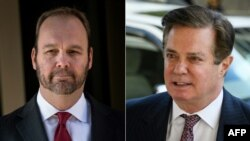 A composite file photo of Rick Gates (left) and Paul Manafort, who both worked on Donald Trump's U.S. presidential campaign.