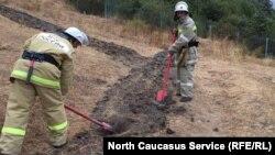 Пожарные пытаются справиться с огнем
