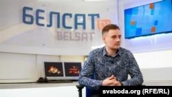 Telegram-блогер Nexta Степан Путила під час інтерв'ю з телеканалом Белсат