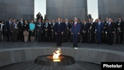 Armenia - President Serzh Sargsyan and French President François Hollande visit the Armenian Genocide memorial in Yerevan, 12May2014.