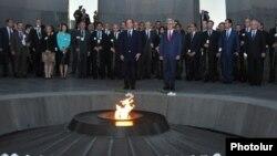 Armenia - President Serzh Sarkisian and French President François Hollande visit the Armenian Genocide memorial in Yerevan, 12May2014.