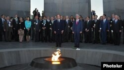 Armenia - President Serzh Sarkisian and French President François Hollande visit the Armenian Genocide memorial in Yerevan, 12May2014.