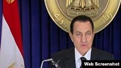 Президент Египта Хосни Мубарак обращается к нации