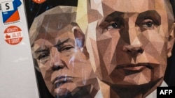 A T-shirt featuring U.S. President Donald Trump and Russian President Vladimir Putin on sale at a souvenir shop in St. Petersburg