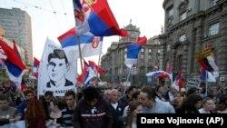 Protesta në Beograd e mbajtur më 6 prill.