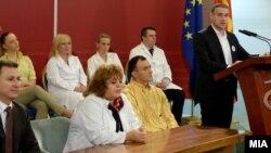 """Архивска фотографија - Прес на премиерот Никола Груевски на кој ја промовира кампањата за здрава храна и здрав начин на живот, """"Здравјето е избор"""""""
