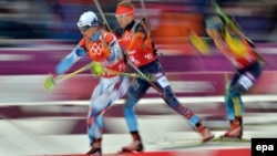 Biathlon competitors at the 2014 Winter Olympics in Sochi in February 2014