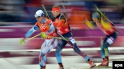 A biathlon competition at the Sochi Winter Olympics in 2014