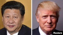 A combo photo of Chinese President Xi Jinping (L) and ation of file photos showing Chinese President Xi Jinping (L) at London's Heathrow Airport, October 19, 2015 and U.S. President Donald Trump