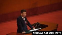 Xi Jinping pronunță un discurs la Congresul Partidului Comunist Chinez, Beijing, 18 octombrie 2017.