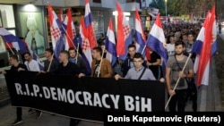 Protests in Mostar on October 11 against the election of a moderate Croat in Bosnia's tripartite presidency.