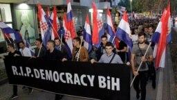 Protest u Mostaru protiv izbora Željka Komšića za hrvatskog člana Predsjedništva BiH