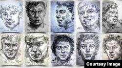 Портреты Немцова, работа московской художницы Лены Хейдиз