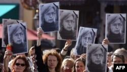 Акция памяти Анны Политковской, проведенная в Мюнхене вскоре после ее убийства, 11 октября 2006 года