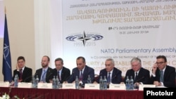 Armenia - Foreign Minister Edward Nalbandian (second from right) attends a NATO seminar in Yerevan, 18Jun2015