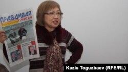 Розлана Тәукина газетке байланысты сотта тұр. Алматы, 10 ақпан 2014 жыл.