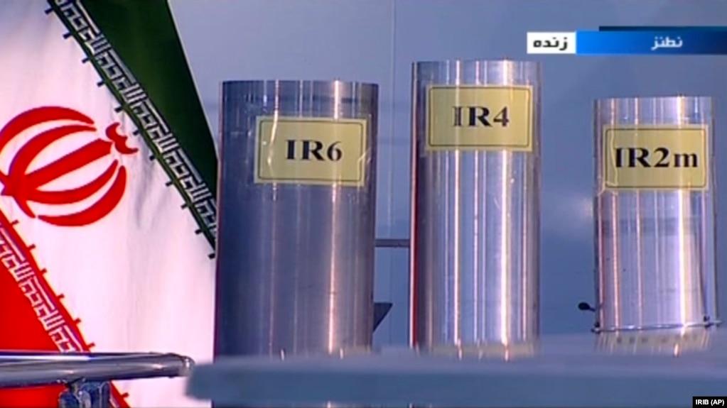 Иранские центрифуги для обогащения урана, показанные по иранскому телевидению 6 июня 2018 года