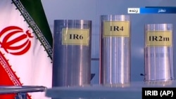 A grab from Islamic Republic Iran Broadcasting, IRIB, state-run TV, shows three versions of domestically-built centrifuges are shown in a live TV program from Natanz,June 6, 2018. FILE photo