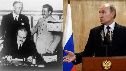 Staljin, Molotov i Ribentrop prilikom potpisivanja pakta 1939. godine (lijevo) i Putin (desno)