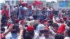 Members of Pakistan's Awami National Party (ANP) protested against the results of the July 25 parliamentary election in Charsadda, Khyber-Pakhtunkhwa Province, on July 30.