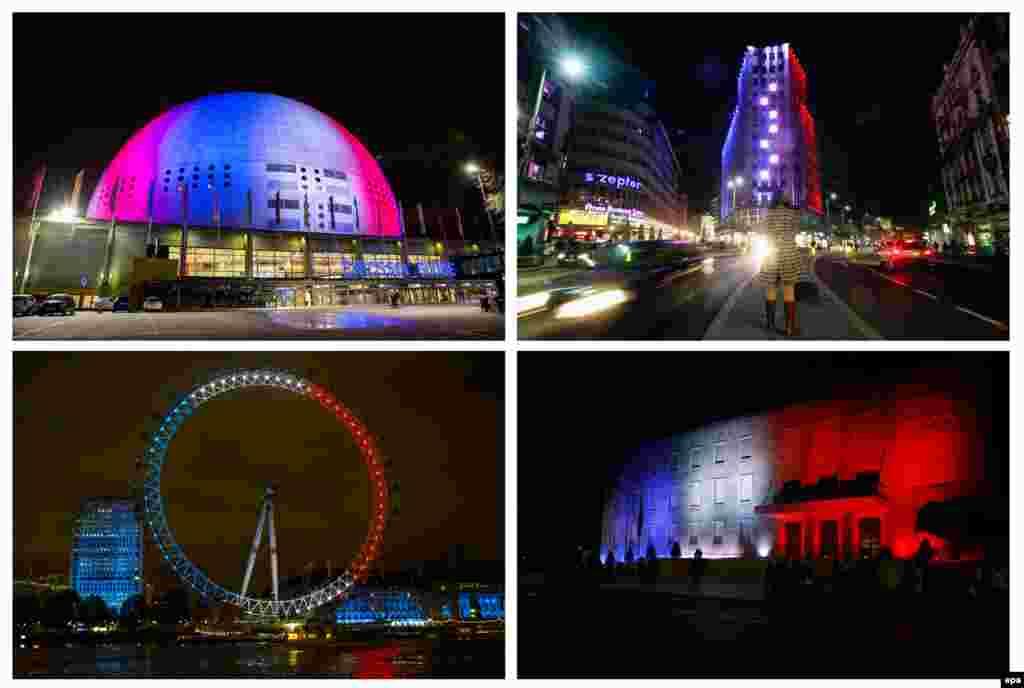 """По часовой стрелке: Арена Эрикссон-Глоб в Стокгольме, здание в Белграде, колесо обозрения """"Лондонский глаз"""", здание правительства в Тиране. 14 ноября 2015 года."""