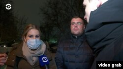 Lyubov Sobol speaks to Current Time after her detention on January 21.