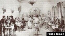 Ресторан в гостинице Санкт-Петербурга, середина XIX века