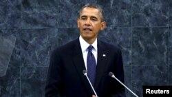 Президент США Барак Обама выступает на заседании Генеральной Ассамблеи ООН. Нью-Йорк, 24 сентября 2013 года.