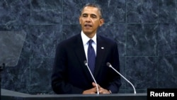 Президент США Барак Обама выступает на сессии Генассамблеи ООН в Нью-Йорке