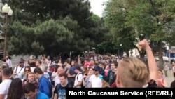 Архивное фото с митинга протеста в Краснодаре