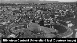 Roma în anii 1920, Piața Sfântul Petru (Sursă: Biblioteca Centrală Universitară Iași)