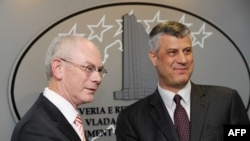 Herman van Rompej i Hashim Thaci u Prištini, 1. jul 2013.