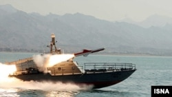 An Iranian ship test-fires Nasr 1 cruise missiles in March.