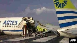 The wreckage of the Aires jet