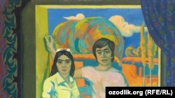 Uzbekistan - photo named The Two on the Threshold drawn by Uzbek artist Shuhrat Abdurashidov