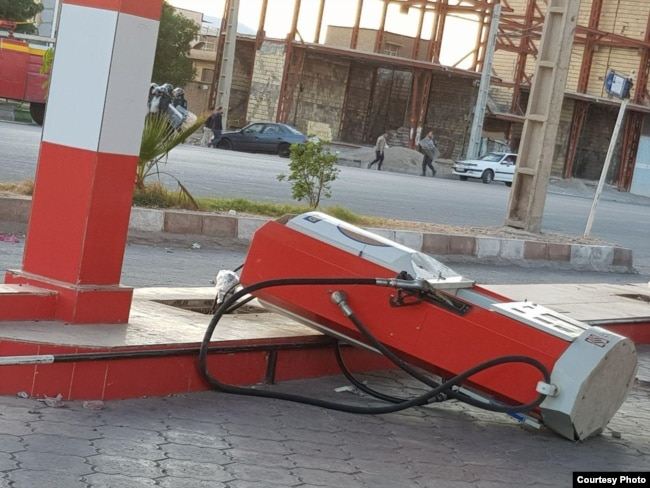 A gas station was attacked in Iran protests in Andimeshk township. November 16, 2019