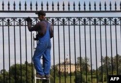Покраска забора вокруг Константиновского дворца в Стрельне к саммиту G20