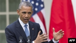 Президент США Барак Обама. Вашингтон, 28 апреля 2015 года.