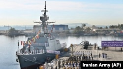 Iranian naval forces inaugurate Iranian new domestically made destroyer Sahand in southern port of Bandar Abbas, December 1, 2018