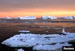 Льды Антарктиды и обитатели ледового континента - пингвины в районе французской исследовательской станции Дюмон