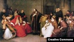 Ян Гус на церковном соборе в Констанце. Картина К. Лессинга (1842)