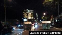 Kontejneri u Takovskoj ulici u blizini Skupštine Srbije