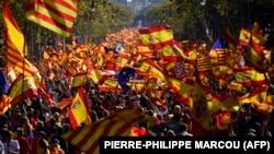 Pamje nga tubimi i sotëm për unitetin e Spanjës në Barcelonë