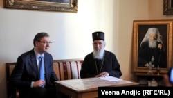 Premijer Aleksandar Vučić i patrijarh Irinej na susretu dan nakon presude Karadžiću, foto: Vesna Anđić